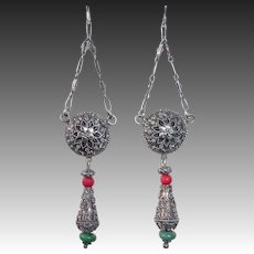 Ethnic Sterling Drop Pierced Earrings Filigree Coral Turquoise