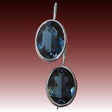 Sterling Pierced Drop Earrings w Faceted Blue Glass Jewel