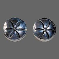 Mexican Sterling Domed Cut Daisy Design Screw Back Earrings