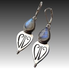 Handcrafted Sterling & Labradorite Lever Back Earrings