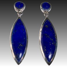 Sterling & Lapis Marquise Drop Pierced Earrings