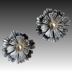 Sterling Layered Petals Dimensional Flower Clip Earrings
