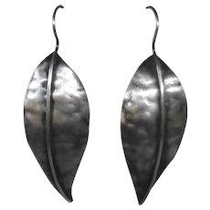 Handcrafted Sterling Hammered Leaf Drop Earrings