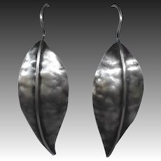 Handcrafted Sterling Hammered Leaf Drop Earrings