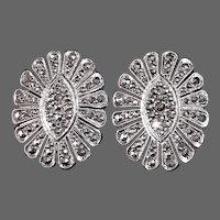 Art Deco Sterling & Marcasite Flower Form Earrings