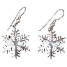 Handcrafted Sterling Silver Pierced Drop Snowflake Earrings