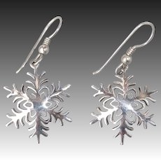 Handcrafted Sterling Silver Pierced Drop Snowflake Earrings