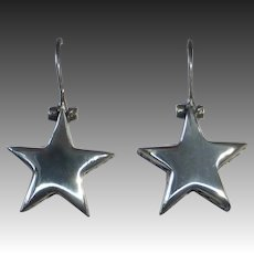 Sterling Silver Dimensional Hanging Star Pierced Earrings