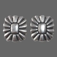 Sterling Southwest Concho Design Clip Earrings