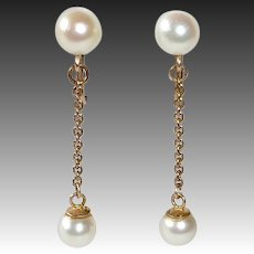 14k Cultured Pearl Drop Clip Earrings
