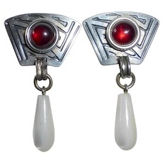 Applique Sterling Earrings w Garnet & Mother of Pearl Teardrop