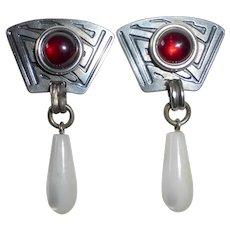 Applique Sterling Earrings w Garnet & Mother of Pearl Teardrop