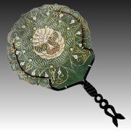 Hand Painted & Pierced Parchment Hand Fan w Carved Horn Handle