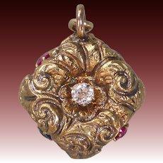 Antique Victorian 14k Rose Gold Patriotic Fob Charm Ruby, Sapphire & Diamond