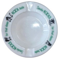 KOOL Cigarette Milkglass Advertising Ashtray w Penguins