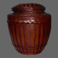 Japanese Lidded Ceramic Jar w Beautiful Woven Rattan Wicker