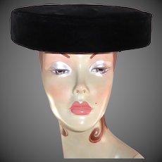1960's Classic Black Velvet Hat