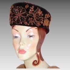 1940s Chocolate Brown Velvet Hat Ornate Rose Gold Glass Beaded Design