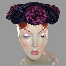 Dark Blue Velvet Vintage Hat Magenta Satin & Velvet Roses