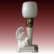Art Deco Milk Glass Lamp w Reclining Nude
