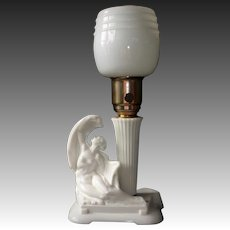 Art Deco Milk Glass Lamp w Reclining Nude