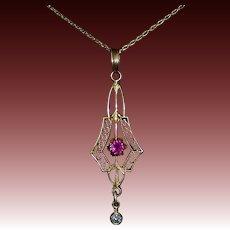 Art Deco 10k Ruby & Diamond Lavaliere Pendant 14k Chain