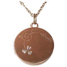 14k Rose Gold Locket & Chain Delicate Clover Design w Diamonds
