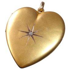 Victorian 10k Gold Shell Heart Locket w Mine Cut Diamond