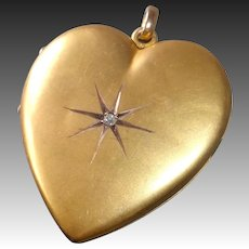 Victorian 10k Gold Shell Heart Locket w Mine Cut Diamond