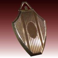 Art Deco Gold Filled Shield Shaped Engraved Fob Locket
