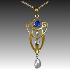 Art Deco 10k Lavaliere Diamond Sapphire Pearl 14k Chain