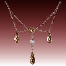 14k Antique Edwardian Citrine Briolette Festoon Necklace