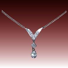 14k White Gold & Diamond V Necklace w Teardrop
