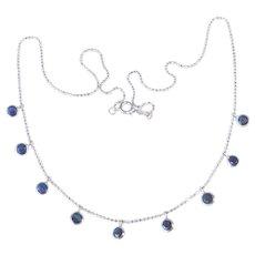 14k White Gold Chain Necklace w Sapphire Drops