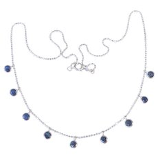 14k White Gold Chain Necklace w Sapphire Drops