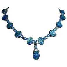 Czech Deco Art Glass Blue Foil Bead Y Necklace