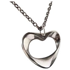 Georg Jensen Denmark Sterling Large Modernist Sculpted Open Heart Necklace