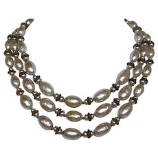 Miriam Haskell Triple Strand Faux Pearl Necklace