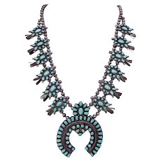 Native American Sterling & Turquoise Squash Blossom Necklace