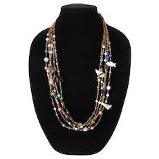 Native American Multi Strand Fetish Necklace Heishi & Stone Beads