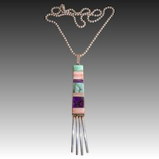 Native American Sterling Inlay Pendant Necklace