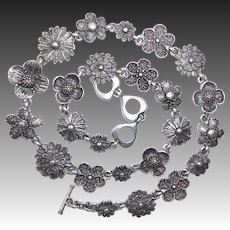 Yves St. Laurent Flower Chain Pewter Necklace