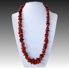 Natural Amber Nugget Bead Necklace