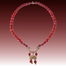 Carnelian Faceted Bead Necklace w GW 800 Silver Filigree Pendant