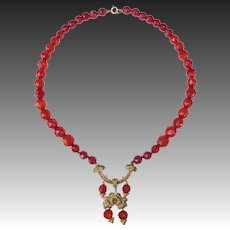 Carnelian Faceted Bead Necklace w GW 800 Silver Filigree Pendant