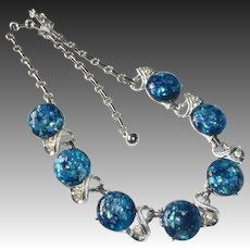 Blue Confetti Lucite Rhodium Plate Silver Tone Necklace c19950s