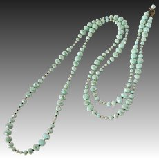 Long Strand Art Deco Necklace of Graduated Green Faceted Beads