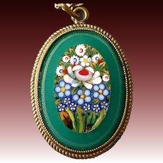 Floral Mosaic set in Chrysoprase Glass Pendant & GF Chain