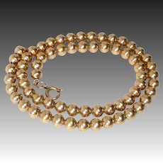 Edwardian Gold Filled 6mm Bead Necklace on Chain