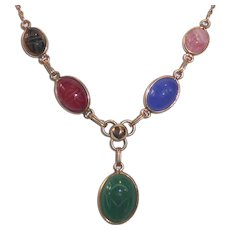 Egyptian Revival Gold Filled Stone Scarab Necklace